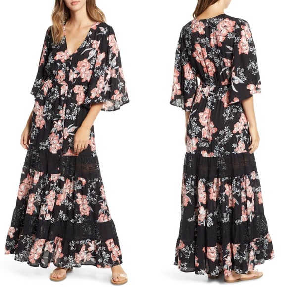 Rip Curl Dresses & Skirts - Rip Curl Nalu Floral Lace Kimono Sleeve Maxi Dress